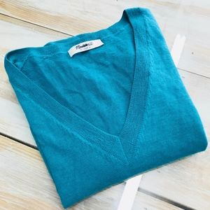 Madewell  knit sweater teal Sz M Wallace v-neck